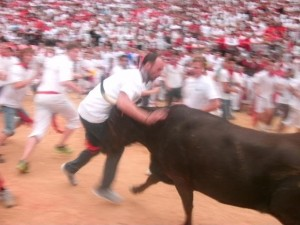 guy hit by bull spain
