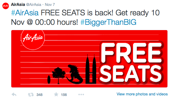 Air Asia free seats twitter
