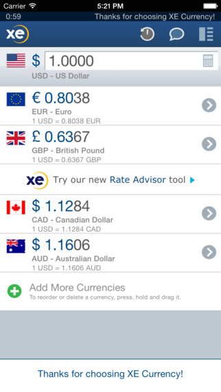 Free currency conversion