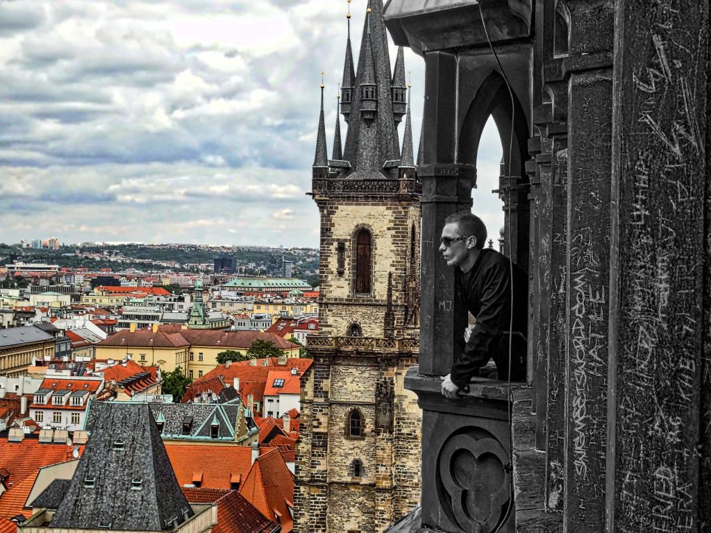 Prague top of clock tower